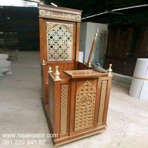 Mimbar masjid minimalis modern harga murah model desain ukuran podium khutbah kayu jati ukiran Jepara motif kaligrafi sederhana dan mewah